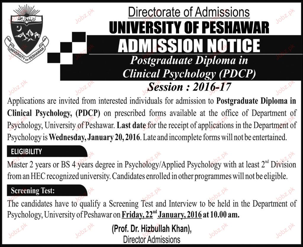 University of Peshawar Admission in PDCP 2019 Government
