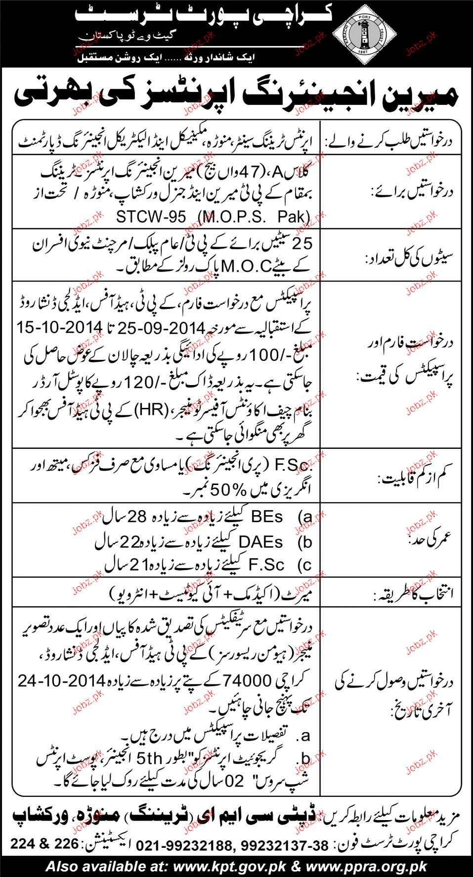 Recruitment of Aprintices Job in karachi Port Trust 2019