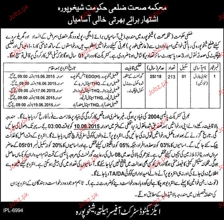 Female Sanitary Patrols Job in Health Department 2019 Job
