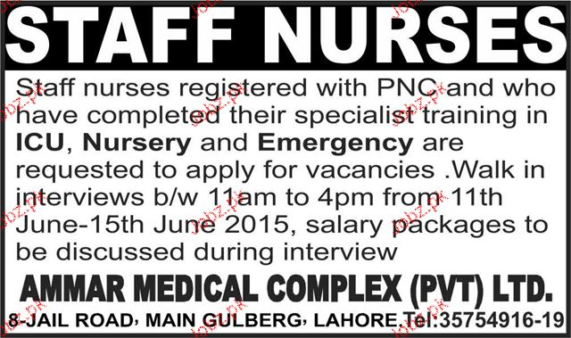 Staff Nurses Job Opportunity 2019 Job Advertisement Pakistan