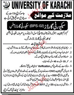 Security Guards Job in University of Karachi 2019 Job