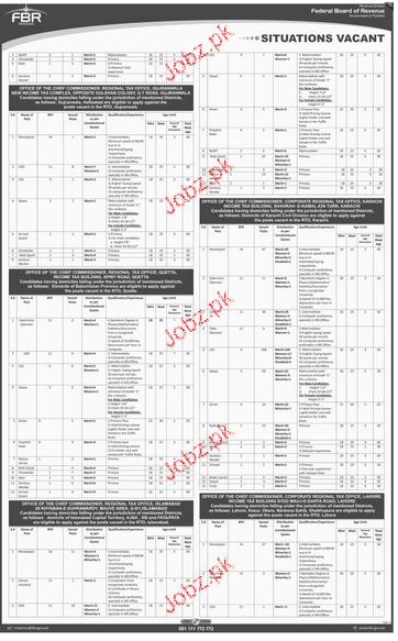 Data Entry Operators, LDC, UDC, Chawkidars Job in FBR 2019