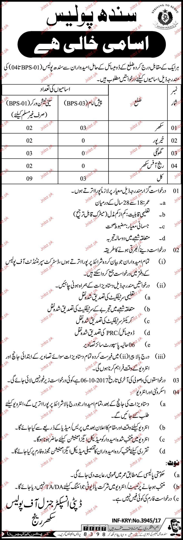 Recruitment in Sindh Police 2019 Job Advertisement Pakistan