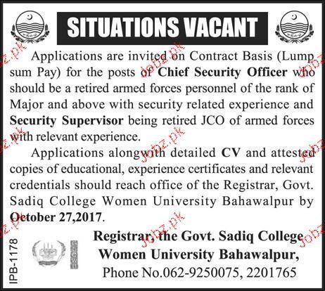 Women University Bahawalpur Jobs 2019 Job Advertisement