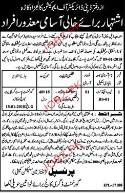 Government Degree Colleges for Women Jobs 2019 Job