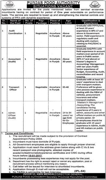 Punjab Food Authority PFA Jobs Accountant & Admin Officer
