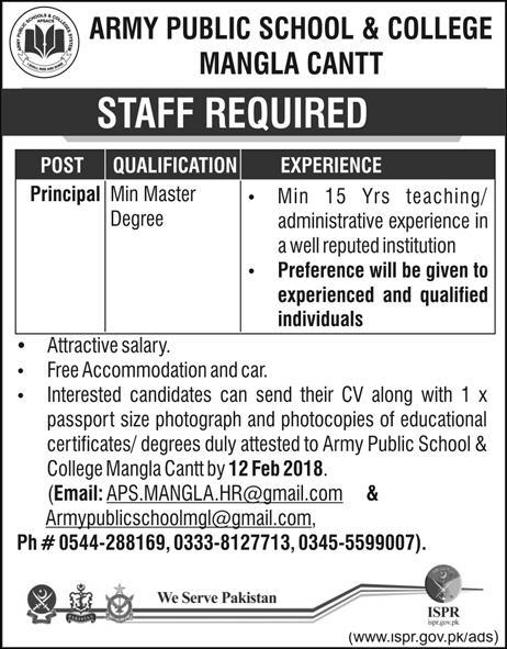 Jobs In Army Public School And College Sarodha Cantt 11