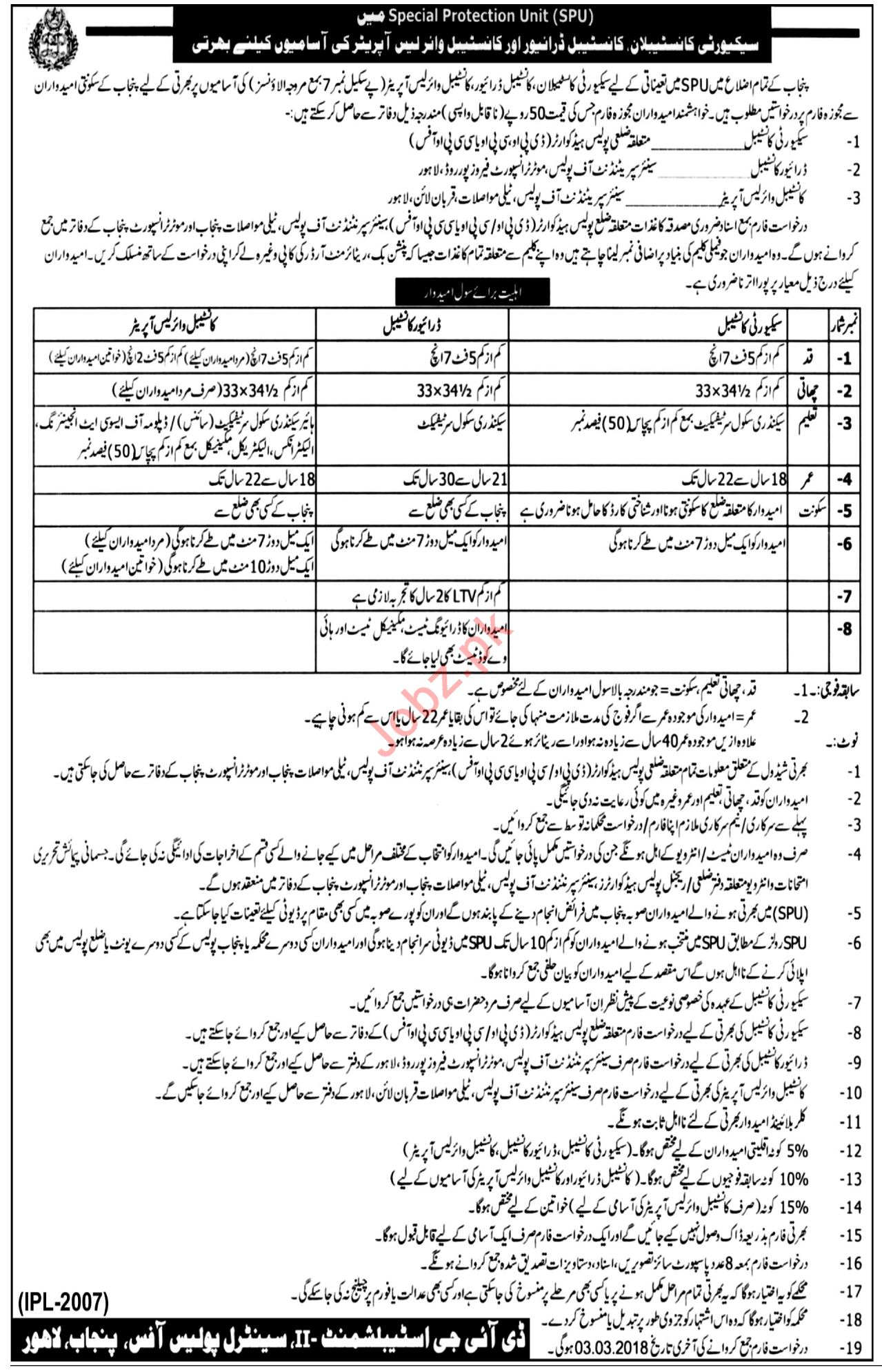 SPU Jobs For Security Constables, Drivers, Wireless