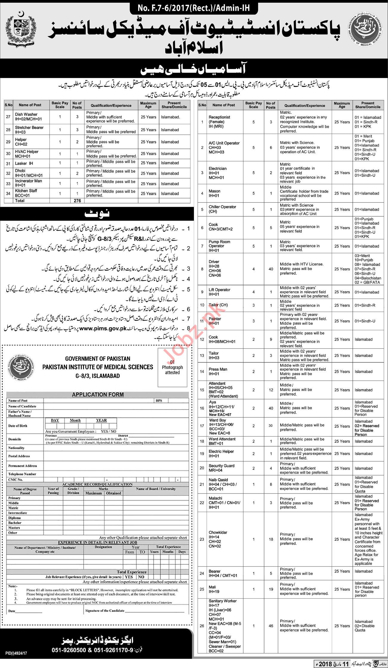 Pakistan Institute of Medical Sciences PIMS Islamabad Jobs