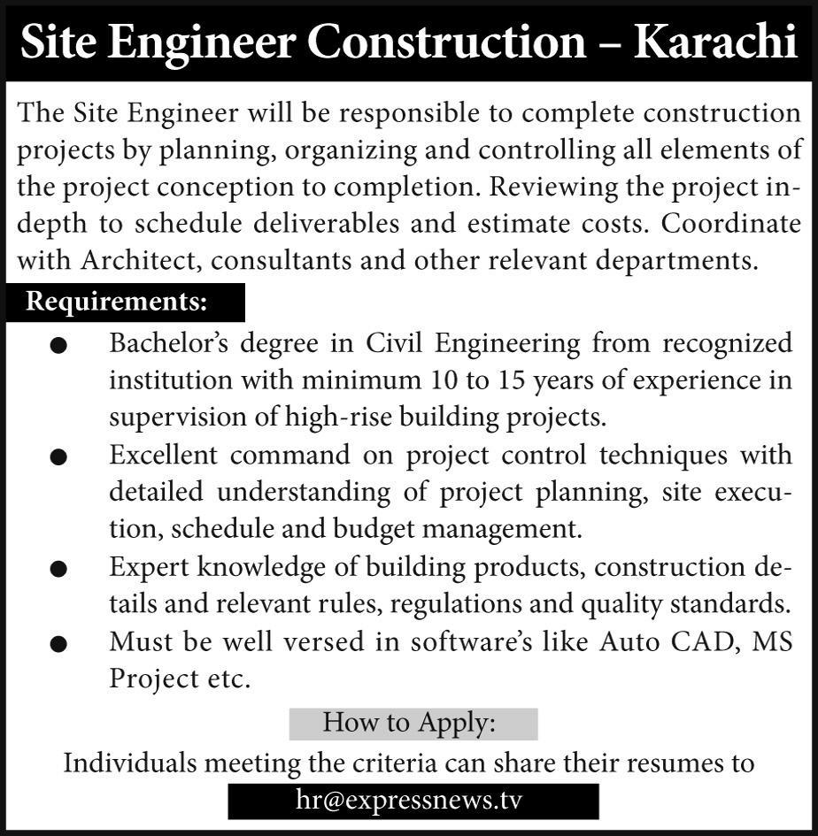 Site Engineer Construction Job Opportunity 2019 Job