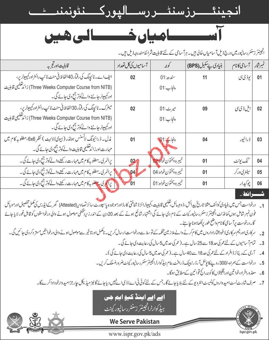 Jobs In Pakistan Army Engineers Center Risalpur Cantonment