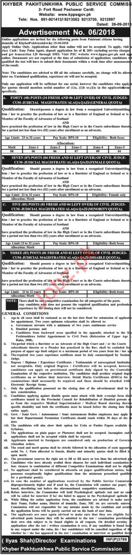 Khyber Pakhtunkhwa Public Service Commission KPPSC Jobs 2018 2021 Job Advertisement Pakistan