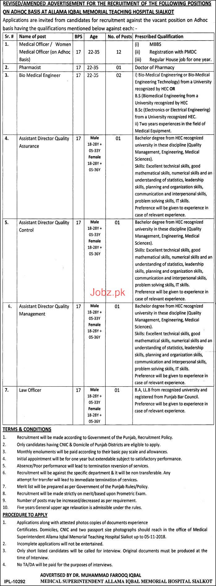 Allama Iqbal Memorial Hospital Sialkot Jobs 2019 Job