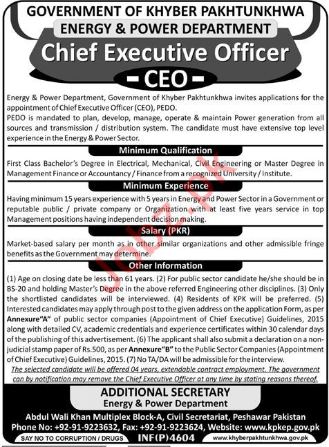 Energy  Power Department CEO Job 2018 in KPK 2019 Job Advertisement Pakistan