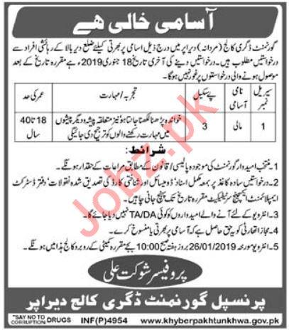 Government Degree College Upper Dir KPK Job 2019 Job