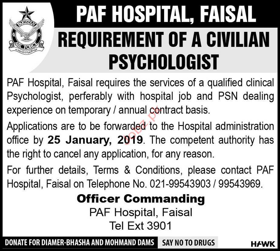 PAF Hospital Psychologist Jobs 2019 Job Advertisement Pakistan