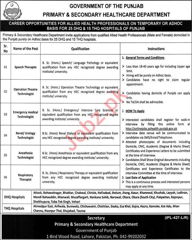Primary Amp Secondary Healthcare Department Jobs 2019 2020
