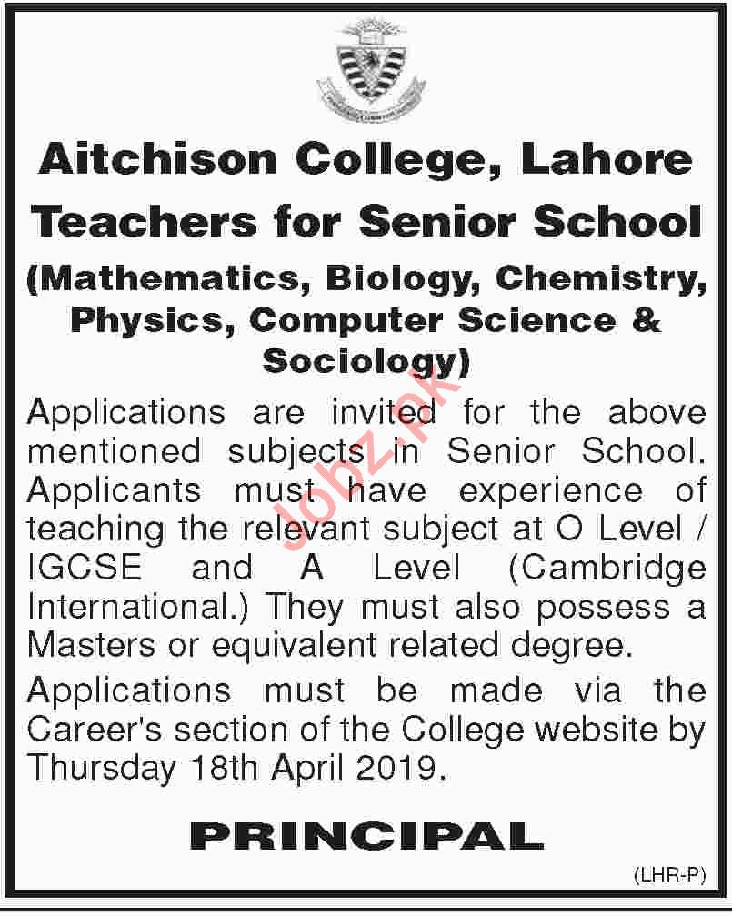 Aitchison College Lahore Jobs 2019 for Teachers 2020 Job