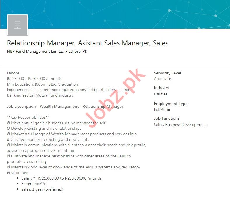 Relationship Manager  Assistant Sales Manager Jobs 2019