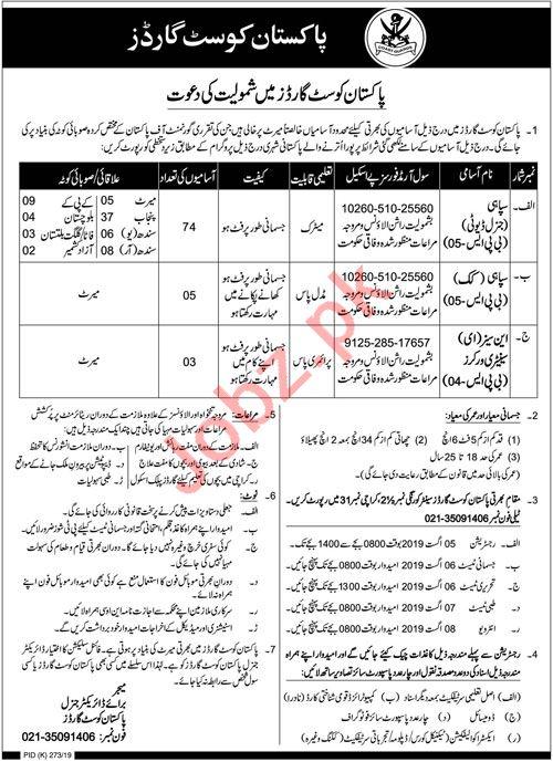 Pakistan Coast Guards Jobs 2019 in Karachi 2019 Job