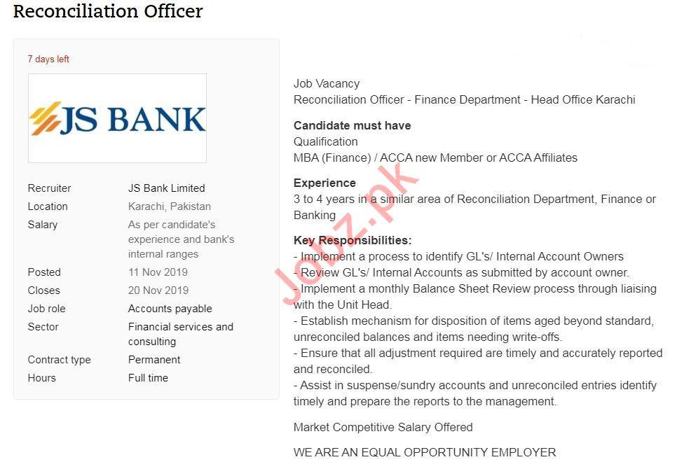 Reconciliation Officer Jobs In Js Bank Limited Jsbl