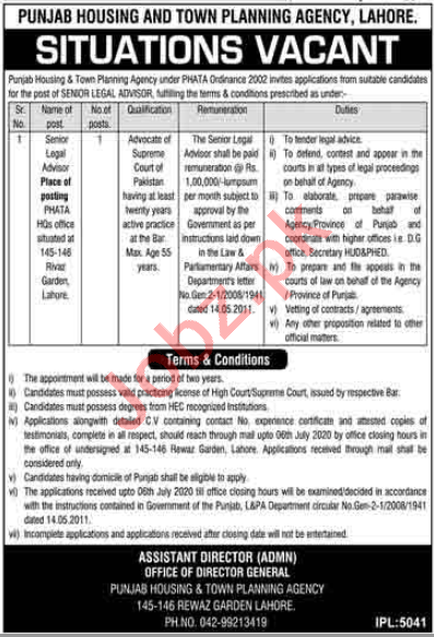 Punjab Housing & Town Planning Agency Legal Posts Lahore