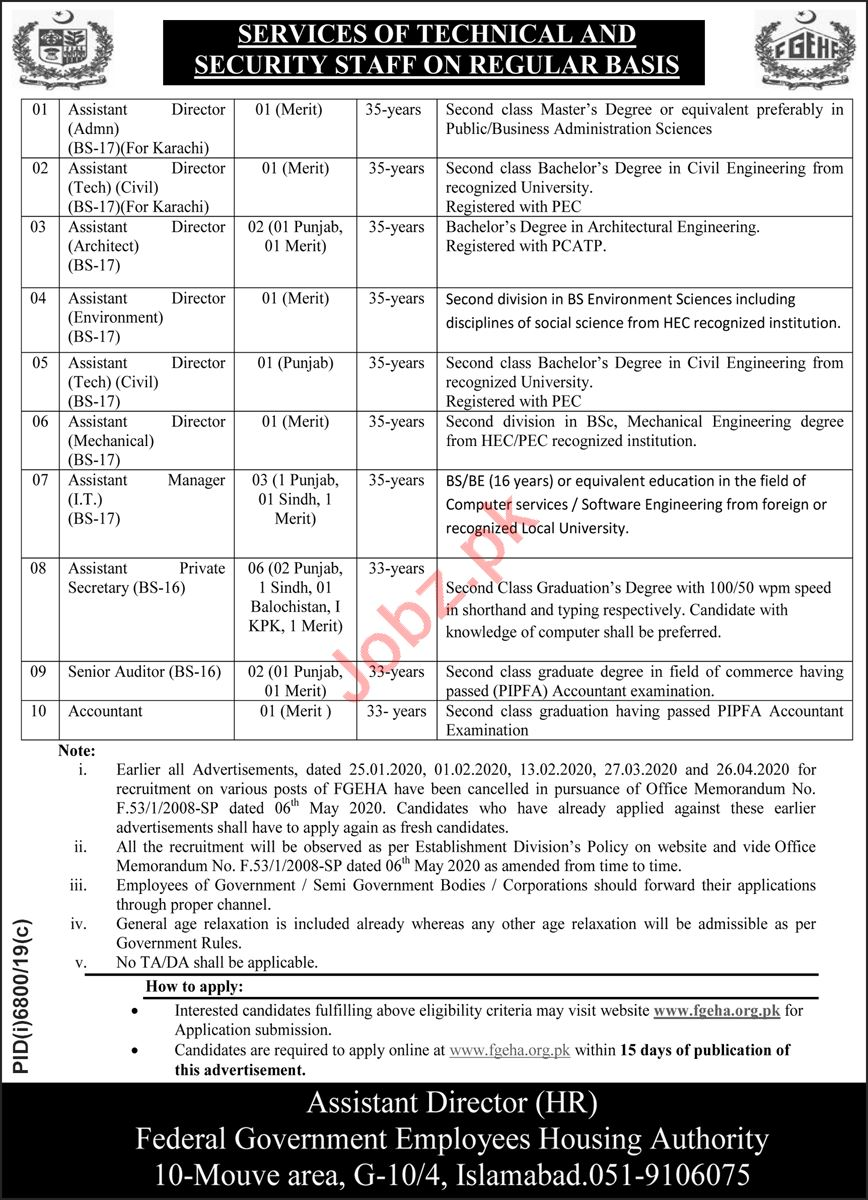 FGEHA Management posts in Islamabad