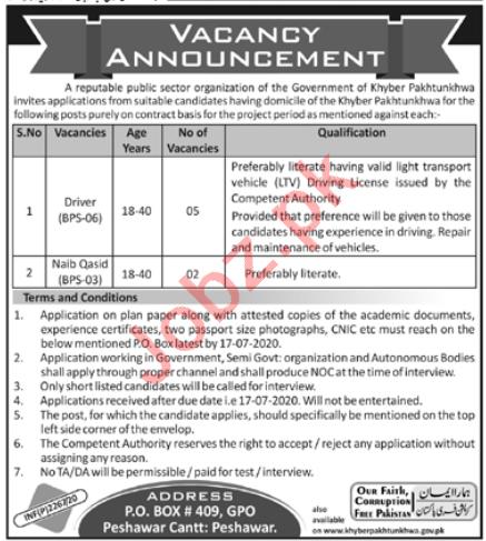Public Sector Organization Driving Posts Peshawar