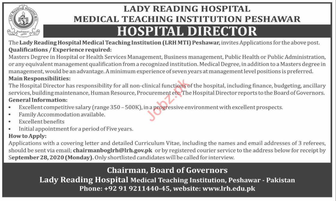 Hospital Director Jobs 2020 in Lady Reading Hospital LRH