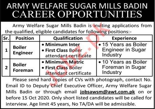 Army Welfare Sugar Mills AWT Badin Jobs 2020 for Engineer