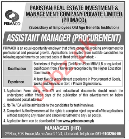 Pakistan Real Estate Investment & Management Jobs