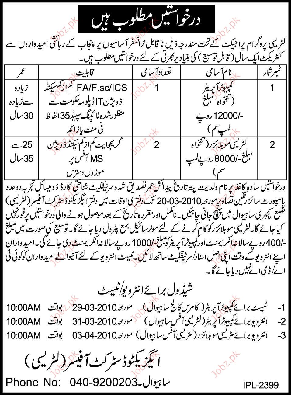 Executive District Office Staff required 2019 Job