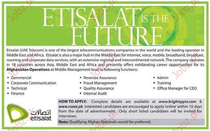 Etisalat Pakistan Job Opportunities 2019 Job Advertisement