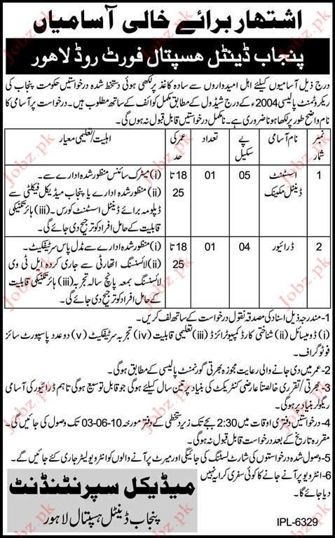 Punjab Dental Hospital Job Opportunities 2019 Job