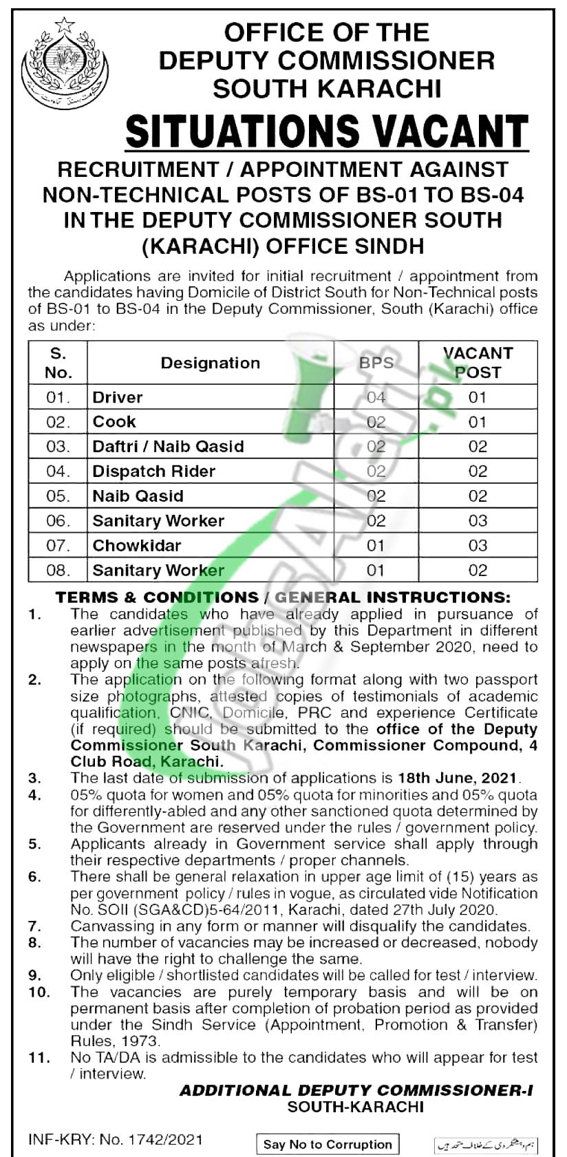 Deputy Commissioner Office South Karachi Latest Jobs 2021 For BPS-01 to BPS-04