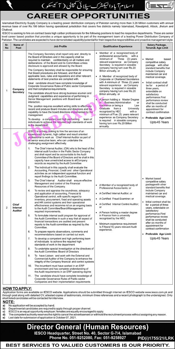Islamabad Electric Supply Company IESCO Latest Jobs 2021 – Apply Online