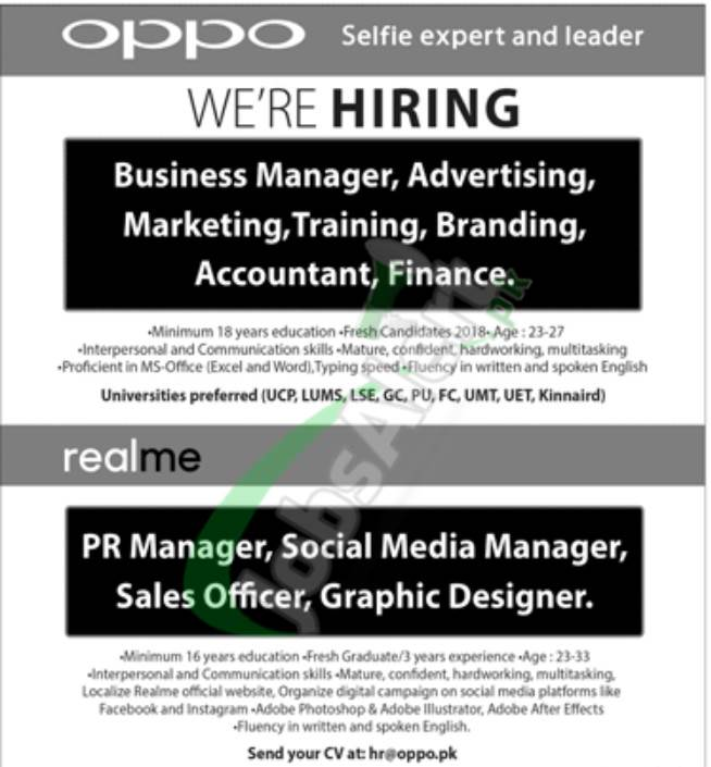 Oppo Latest Jobs 2021 for Managers & Sales Officer (Male & Female)