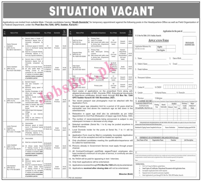 Federal Government Department Latest Jobs 2021 – Application Form