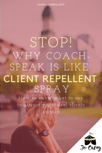 why coach speak is like client repellent spray. What to say to talk to attract your ideal clients