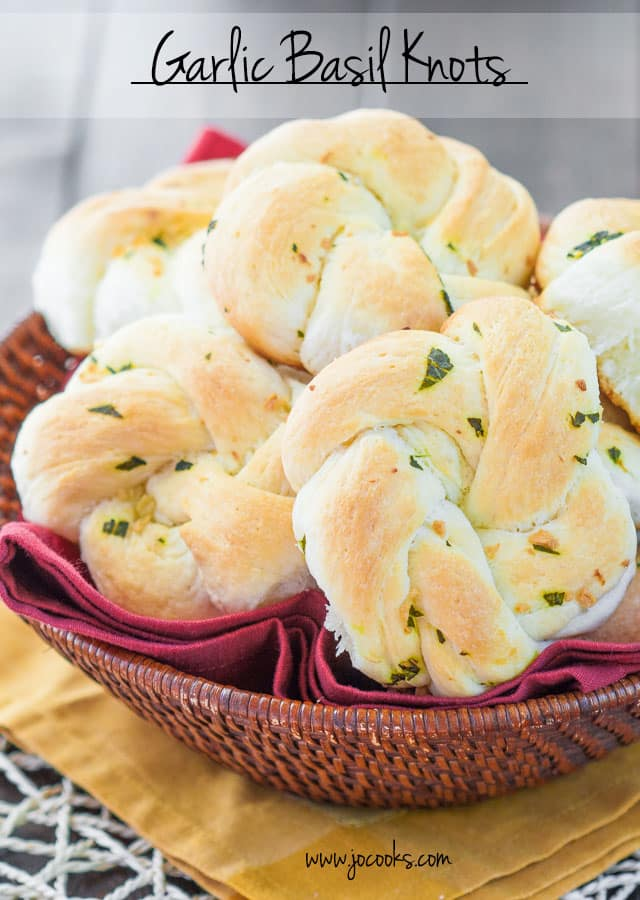 "Garlic Basil Knots Bread Side Dish Recipe | Jo Cooks ""Garlic Basil Knots - simple flavors turn this simple roll into a super star. Basil and garlic, marriage made in heaven, as these rolls bake your house will smell heavenly."""