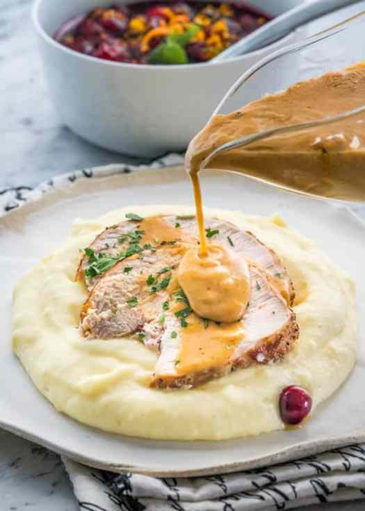 This super easy Instant Pot Turkey Breast is made in a fraction of the time and you'll end up with the juiciest turkey breast ever, plus make your own gravy right in the instant pot.