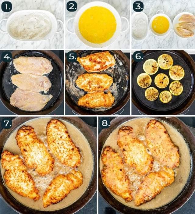 кадры процесса, показывающие, как приготовить курицу по-французски