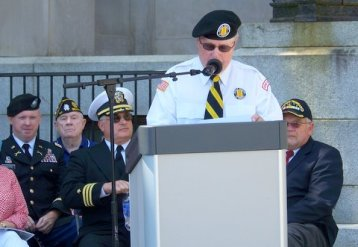 Retied Colonel Rudy Baker, Chairman of the Johnston County Veterans Board, speaks during the Memorial Day Ceremony.