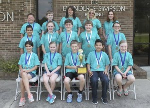 Meadow School Battle of the Books team members on the front row (from left) are Jada Barefoot, Lyda Boone, Elliot Butler, Jaleel Carranza, and Reagan Williford. On the middle row are Jared Carranza, Kaitlyn Giddens, Preston Parker, Braden Raynor, and Emma Stewart. On the back row are Anna Knowles, Adam Miller, Coach Rhonda Langston, Coach Lori Keith, and Coach Heather Sutton. 