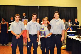 Left to right: Cadets Taylor Twigg, Christian Hughes, Tanna Twigg and Zach Carrothers.