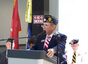 Johnston County Commissioner Ted Godwin of Selma, a US Army Veteran, thanked the 16 Veterans organizations that make up the Johnston County Veterans Council for putting together the 2016 Memorial Day Service in Smithfield. JoCoReport.com Photo