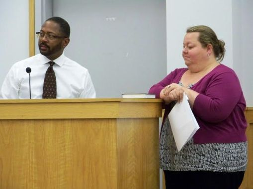 Downtown Smithfield Development Corporation Executive Director Sarah Edwards (right) and Town of Smithfield Finance Director Greg Siler answer questions about two missed loan payments totaling $30,250. JoCoReport.com Photo