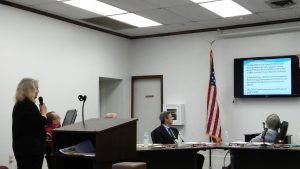 Ann Williams with the Selma Civic Center Steering Committee gives an update on fundraising efforts for the project during Tuesday night's town council meeting. JoCoReport.com Photo