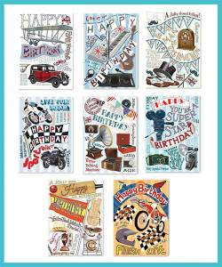 Male Birthday Packs of 8 assorted greetings cards - £8.90