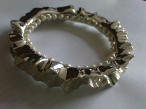 Silver and Pearl Bangle